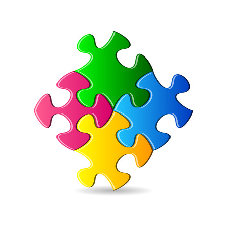 Vector colorful puzzle pieces joined together on white