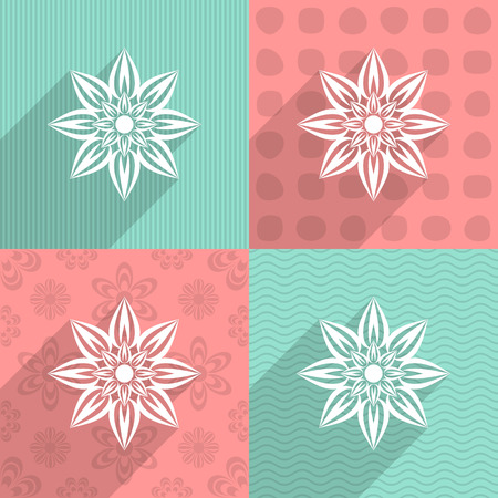 White flower icon on colorful backgrounds long shadow Vector