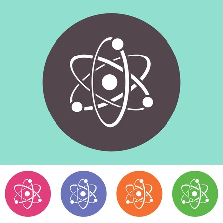 photon: Single vector atom icon on round colorful buttons Illustration