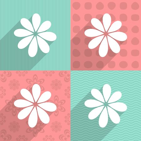 White simple flower on colorful backgrounds long shadow Vector