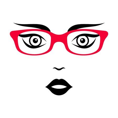 sch�nes frauengesicht: Sch�nes Frauengesicht mit roter Brille Vektor-Illustration