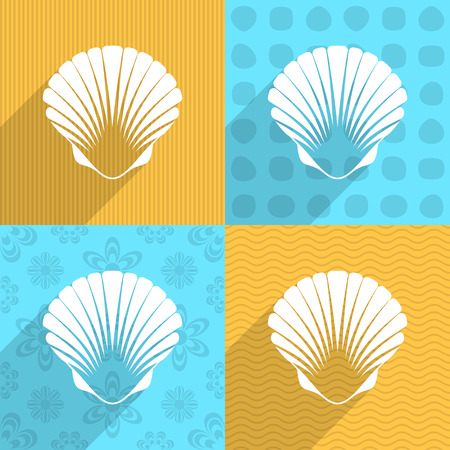 scallop: White scallop seashell on colorful backgrounds long shadow
