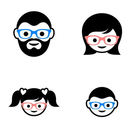 black family: Black vector family members faces icons with glasses