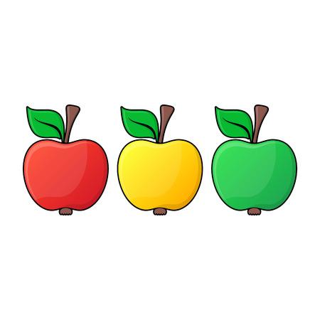manzana caricatura: Amarillo iconos manzana verde rojos con contorno negro Vectores