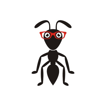 Simple black ant cartoon character with red glasses