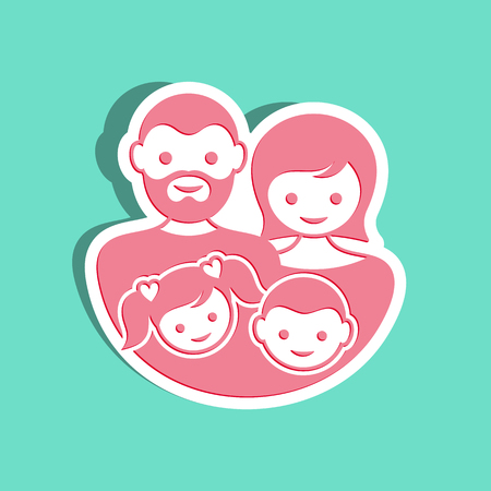 parent with child: Simple vector family label with parents and children