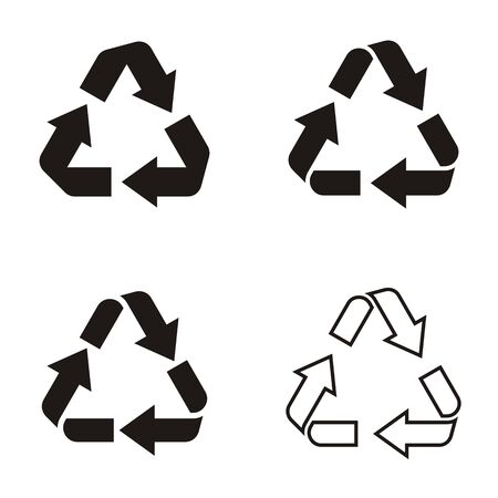 recycle symbol vector: Different vector black recycle symbol icons collection isolated