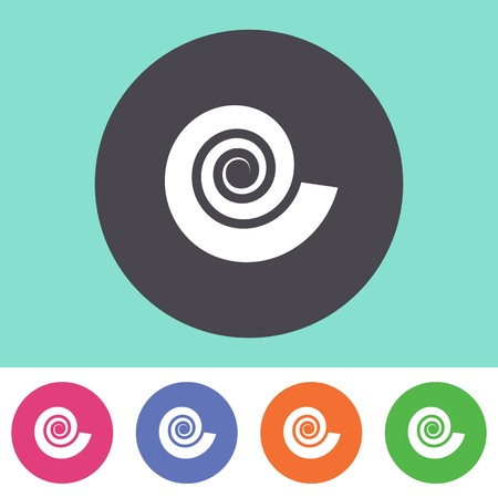 Single vector spiral icon on round colorful buttons