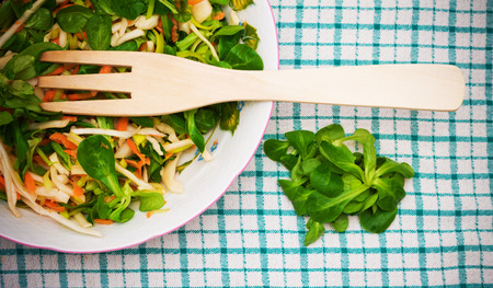 carot: Fresh salad with carot, onion and spinach