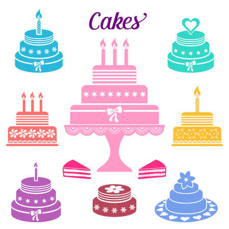 Colorful birthday and wedding cakes vector icons collection Vector