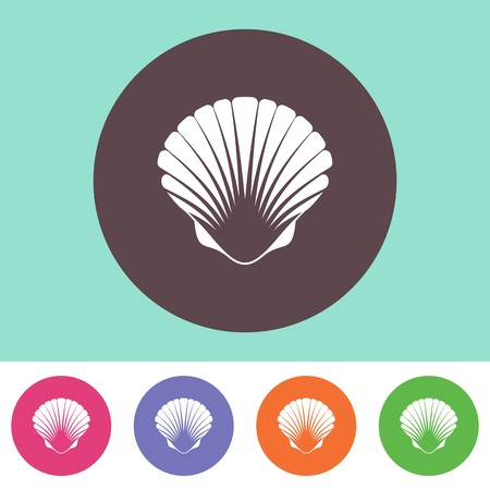 Single vector scallop icon on round colorful buttons 일러스트
