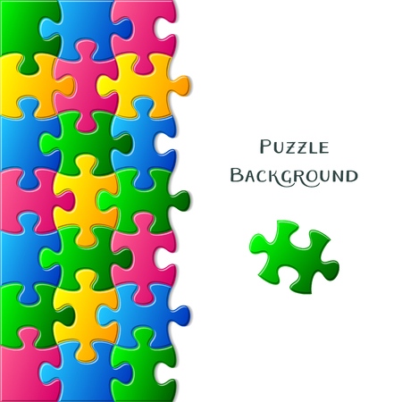 are joined: Vector card with colorful gradient joined puzzle pieces