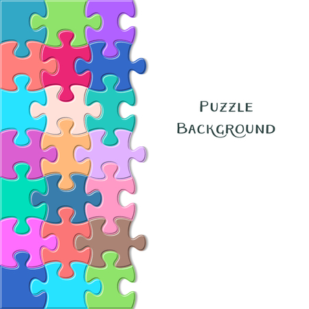 are joined: Colorful vector card with joined puzzle pieces