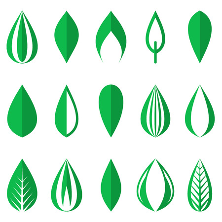 Different origami green simple leaves on white background Vector