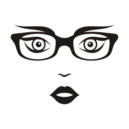 Beautiful woman face with glasses black vector illustration