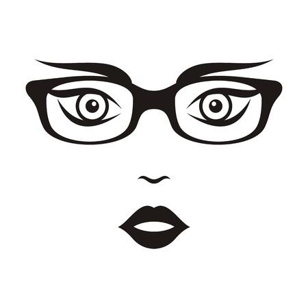 sch�nes frauengesicht: Sch�ne Frau Gesicht mit Brille schwarz Vektor-Illustration