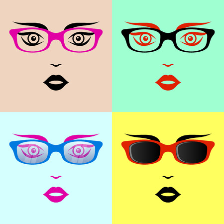 diopter: Beautiful woman face with glasses colorful vector collection