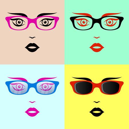 sch�nes frauengesicht: Sch�ne Frau Gesicht mit Brille bunte Vektor-Sammlung