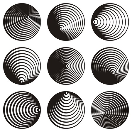 Black vector circle spiral creative design elements collection