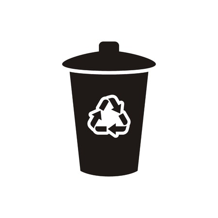 Black vector recycle bin icon isolated on white Vector
