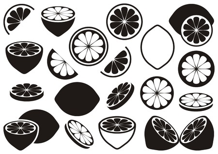 lemon lime: Black vector lemon icons isolated on white background