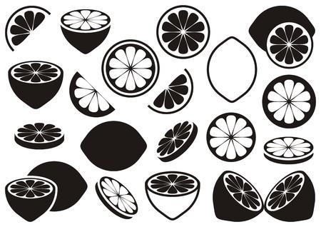Black vector lemon icons isolated on white background