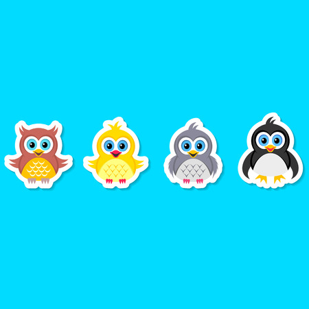 Colorful owl pigeon chicken and penguin labels Vector