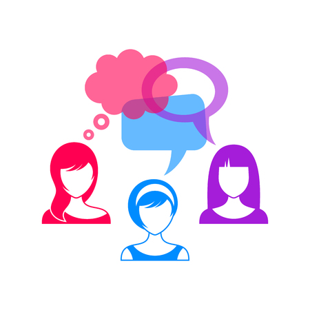 Colorful woman icons with thought and speech bubbles Vector