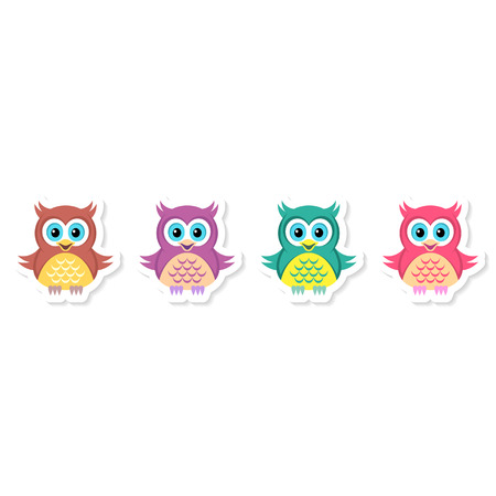 Cute vector colorful cartoon character owl labels collection Vector