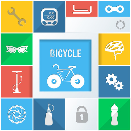 oilcan: Infographic colorful background with bicycle icons vector illustration Illustration