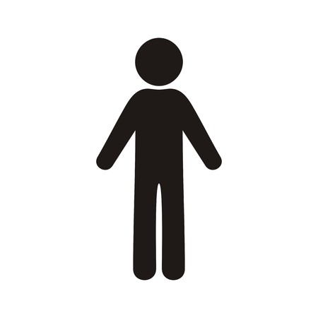 Single black vector man icon on white background