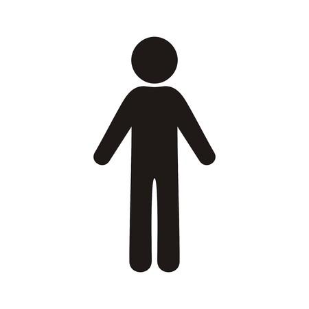 Single black vector man icon on white background