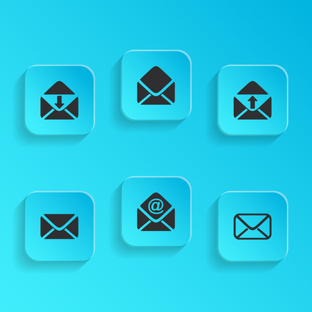 blue buttons: Modern vector mail envelope icons on blue buttons Illustration