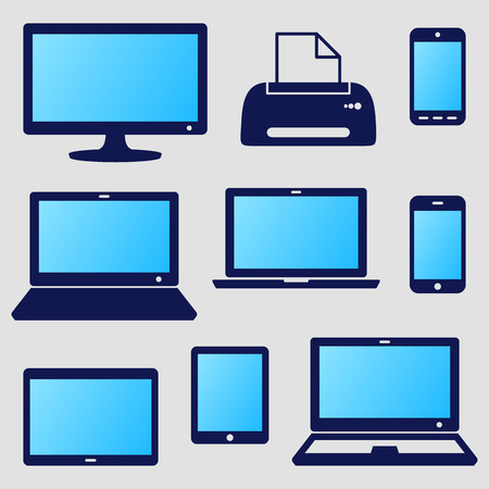 lcd monitor printer: Vector modern digital device icons with blue screen