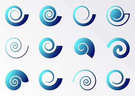 caracol: Iconos espiral gradiente azules en fondo blanco Colección