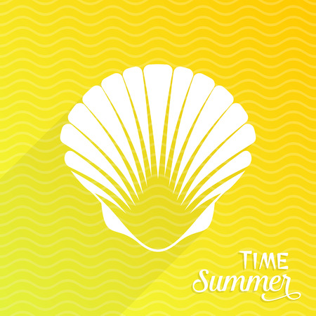 scallop: Summer time card with white scallop seashell Illustration