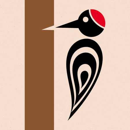 woody: Vector stylized woodpecker icon with tree creative card