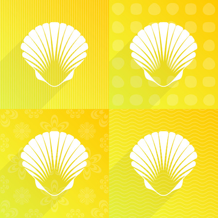 scallop: White scallop seashell on yellow backgrounds long shadow