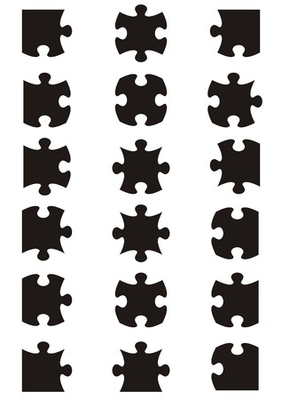 All possible shapes of jigsaw puzzle pieces black Ilustração