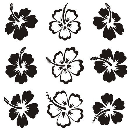 Black vector hibiscus silhouette icons on white background