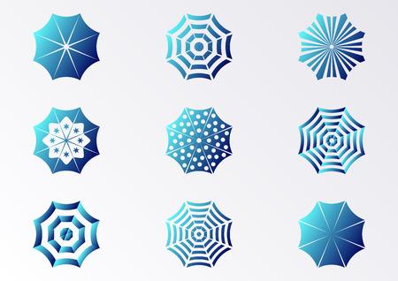 sonnenschirm: Blau-Farbverlauf Vektor Sonnenschirm Icons Sammlung isoliert