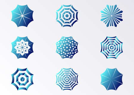sun umbrella: Blue gradient vector sun umbrella icons collection isolated