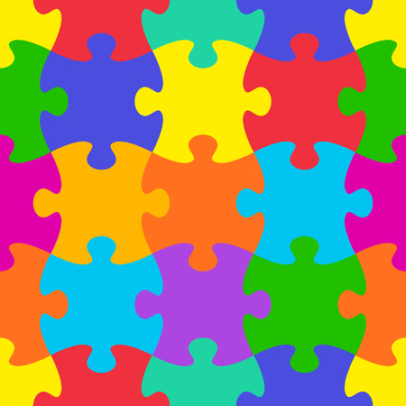 puzzle background: Colorful vector jigsaw puzzle seamless pattern