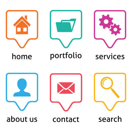 Colorful vector website menu icons on white background