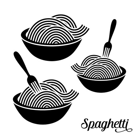 noodles: Spaghetti or noodle with fork black vector icons