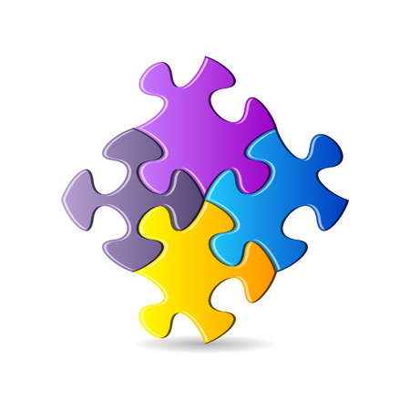 are joined: Vector colorful puzzle pieces joined together on white