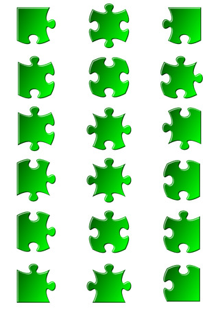 All possible shapes of jigsaw puzzle pieces green