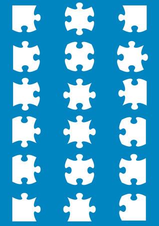 소 퍼즐 조각 흰색에게 모든 가능한 모양 일러스트