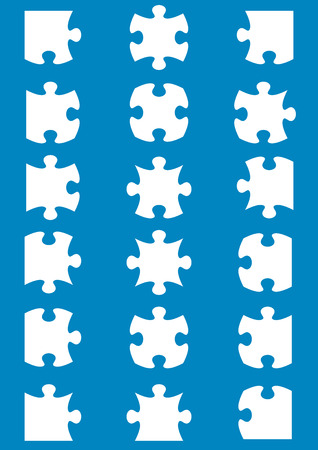 All possible shapes of jigsaw puzzle pieces white