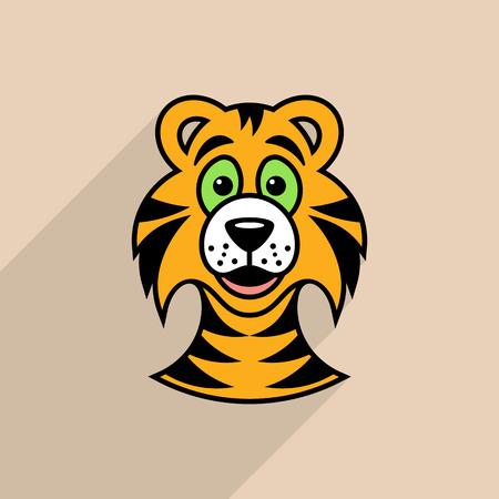 Colorful vector tiger cartoon face icon long shadow
